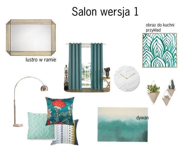 Salon ver1 by magdalena-grycz on Polyvore featuring interior, interiors, interior design, dom, home decor, interior decorating, Ink & Ivy, Unitex International, Jamie Young and Menu