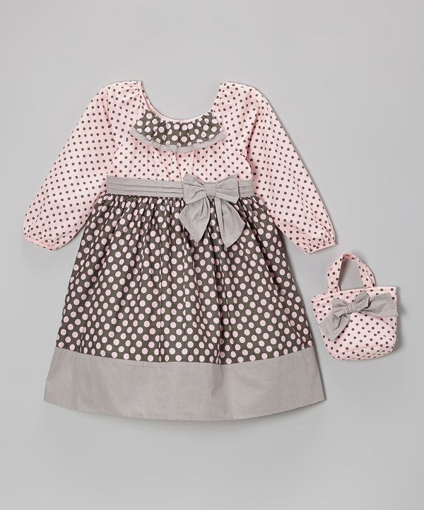 Take a look at this Pink & Gray Polka Dot Bow Dress & Purse - Infant, Toddler & Girls on zulily today!