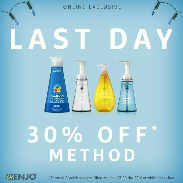 LAST CHANCE // This is the last day to get method products for 30% OFF*. Get yours now: http://ow.ly/ETWg306tzne
