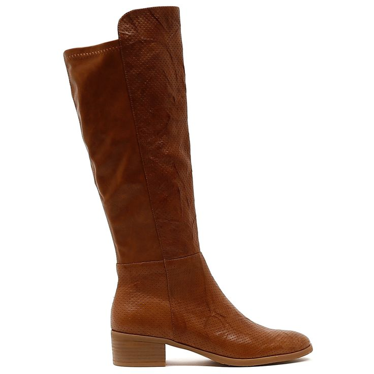 TIPTON by Django and Juliette. Classic, chic and tricked up with the trend of the season, pinpunched leather. Essential for the cooler season this leather knee high boot is flattering and versatile. For easy everyday styling, just pair them with wardrobe favourites like denim, leggings, skirts or dresses. 4.5cm heel. Leather upper, leather lining. Manmade sole.