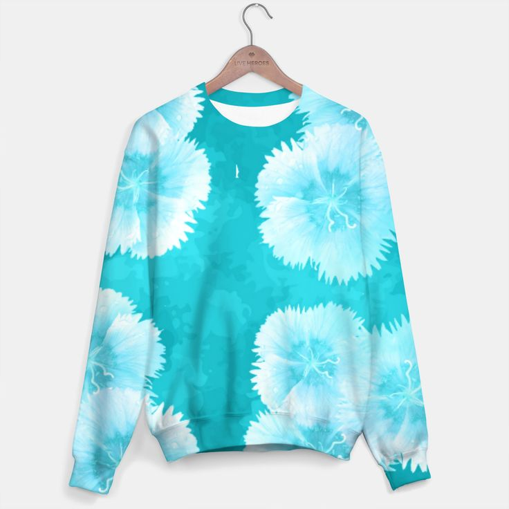 Turquiose Florals Sweater, Live Heroes