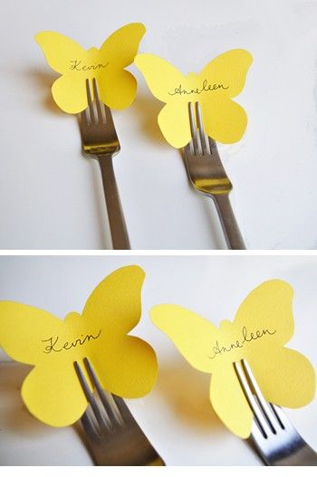 super cute name card ideas, the silver of the fork with the yellow paper goes super well with the grey  yellow theme I am dreaming up in my head