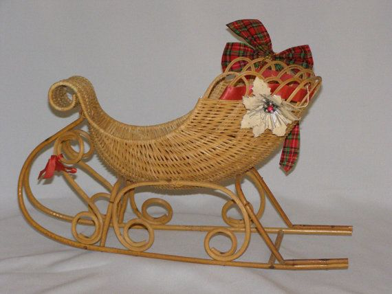 Vintage 1960's Christmas Santa Sleigh Sled by parkie2 on Etsy, $19.95