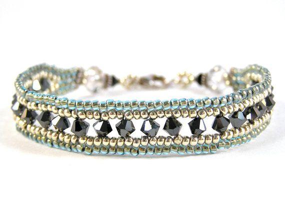Herringbone Window Bracelet - Beadweaving, Beadwork - Glass Beads, Swarovski Crystal, & Sterling Silver - Aqua/Hematite/Silver Colorway by knitbeadlove