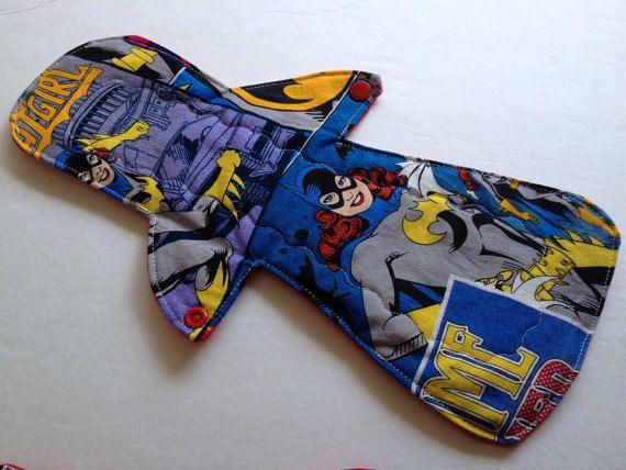13 Post Partum Cloth Menstrual Pad/Bamboo Core/ Bat by MamaKloth, $13.95
