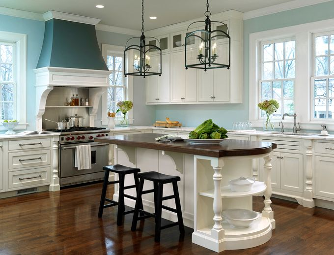 Oooh how I want to cook in this kitchen...: Blue Wall, Wall Color, Lighting Fixtures, Kitchens Islands, Blue Kitchens, Kitchens Idea, White Cabinets, Dream Kitchens, White Kitchens