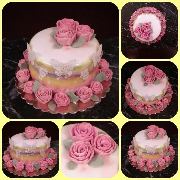 Rózsa virágos torta