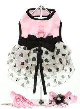 "Small Dog Clothes - UrbanPup Pink Satin & Hearts Chiffon Harness Dress, Lead & Hat (Large - Dog Body Length: 14"" / 35cm) by UrbanPup £28.95"
