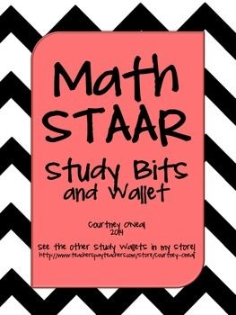STAAR Math Study Bits for foldables, flashcards, etc.
