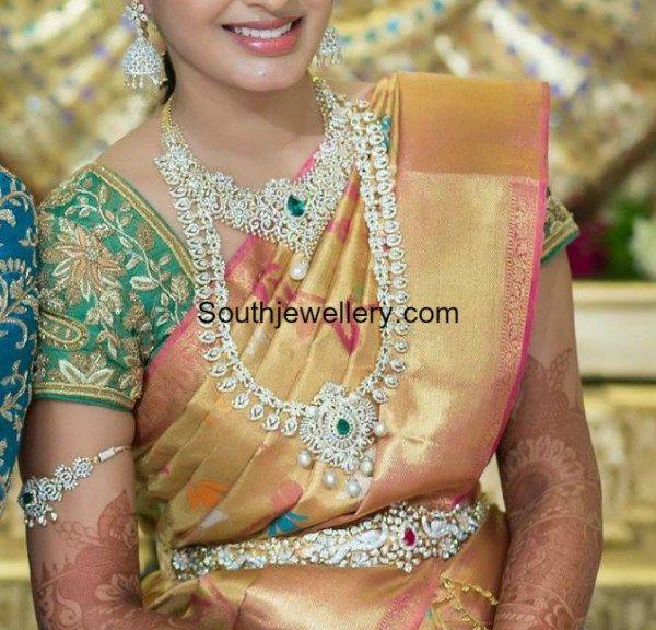 south indian bride diamond jewellery