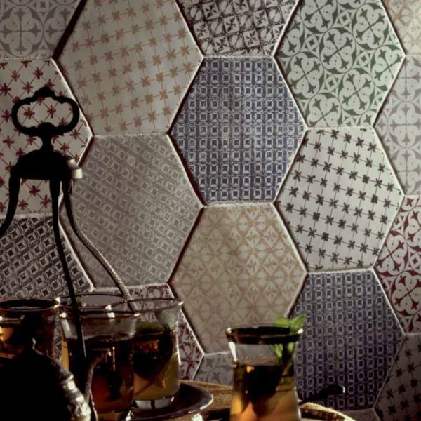 Hexagon marrakech gris mosaico 15x15 cm carrelage for Cuisine carrelage gris