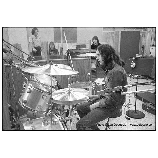 Another one of Foreigner recording their first album at the Atlantic Records Recording Studio in Columbus Circle,  NYC. Dennis Elliott on drums. Mick Jones and Ian McDonald in the background.  Photo (c) Len DeLessio