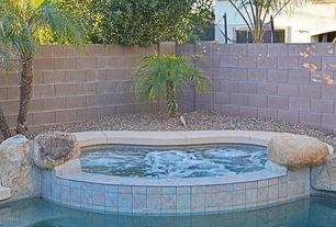 Tropical Hot Tub with exterior stone floors, 16 in. x 8 in. x 8 in. Concrete Block, Fence, 8 in. x 4 in. x 2 in. cement brick