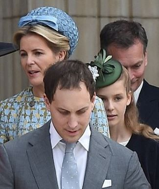 Margarita Armstrong-Jones (behind Viscountess Linley) June 10, 2016 | Royal Hats--Margarita Armstrong-Jones wore Rachel Trevor Morgan. Green silk covered percher cocktail hat trimmed with looped green bows and white silk flowers.