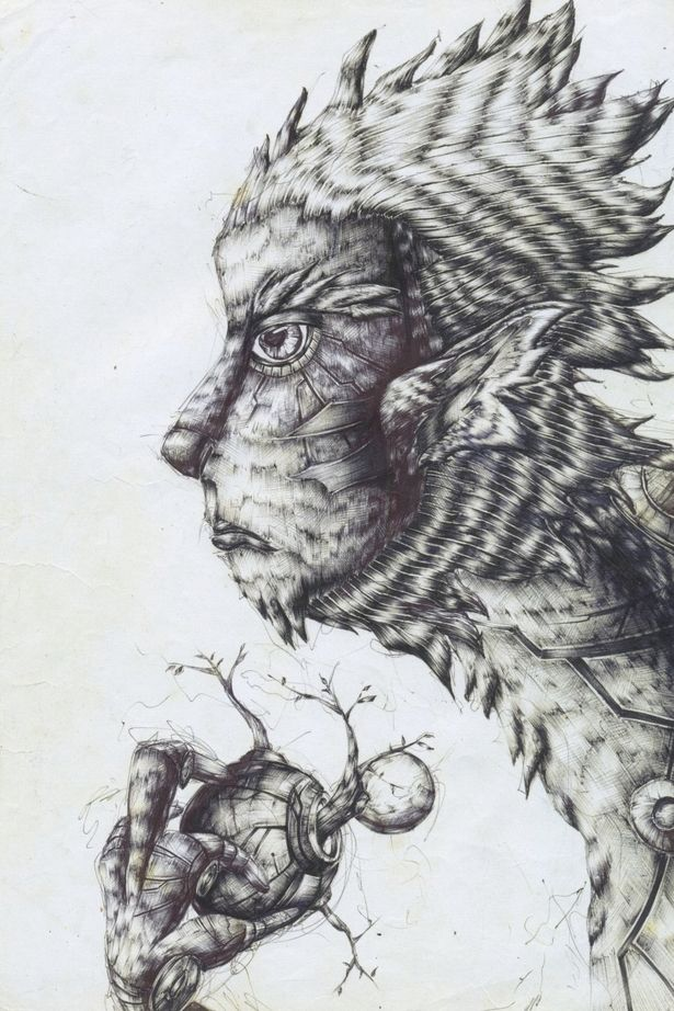tree,monster,hair,mechanic,monkey,일러스트,원숭이,식물,괴물,펜화,볼펜,동물,illust,pen