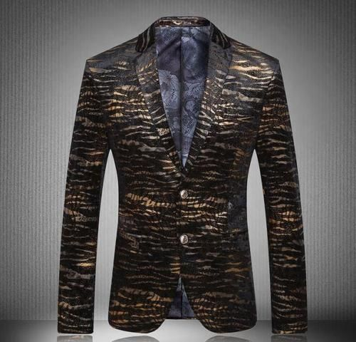 Gold Mens Two Button banquet costume Suits slim fit Blazers Coat printing Jacket | eBay