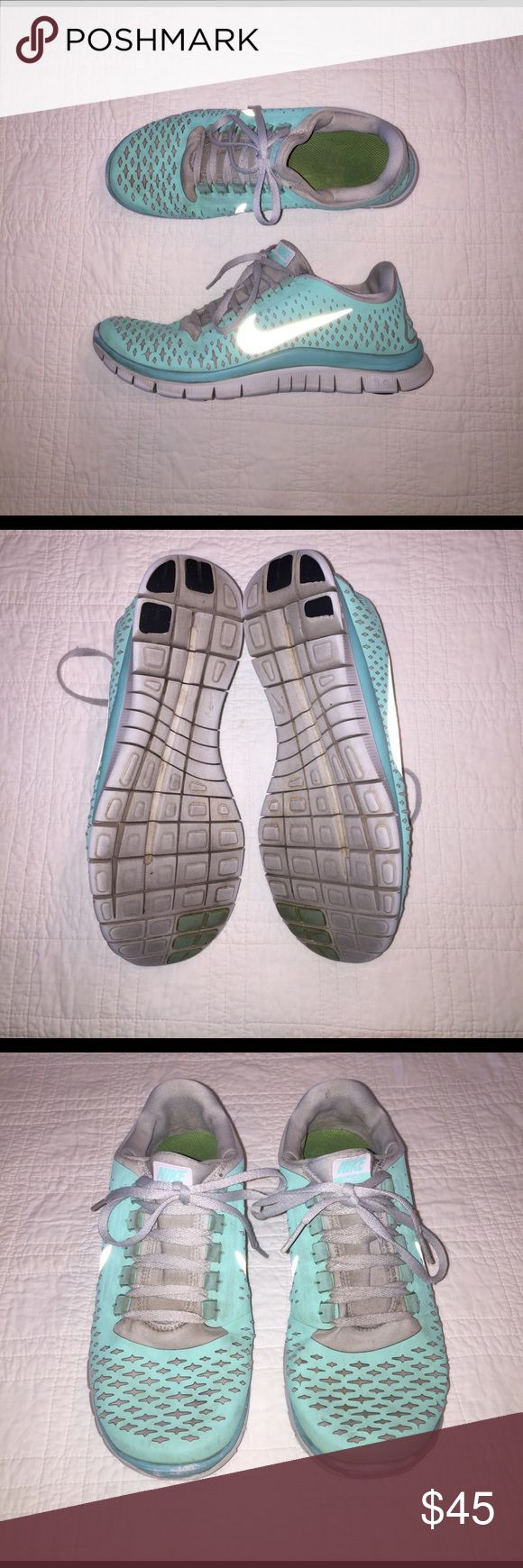 Tiffany Blue Nike 3.0 Free Runs Cute and comfy Tiffany Blue Nike Free Runs. **Very rare** There are a few scuffs on the toes from use. Selling them at $43 for the used condition. But I'm willing to negotiate offers! Nike Shoes Athletic Shoes