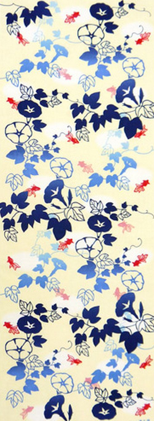 Japanese Tenugui Towel Cotton Fabric, Hand Dyed Fabric, Morning Glory & Goldfish, Modern Summer Decor Gift, Home Decor Wall Tapestry, h362