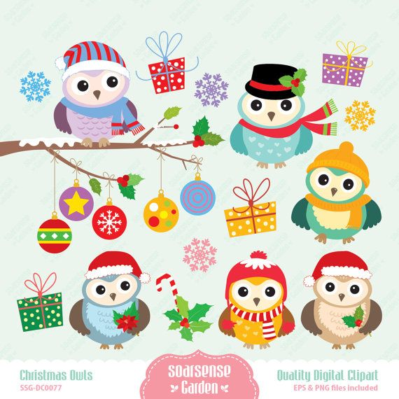 Christmas Owls Digital Clipart by SSGARDEN on Etsy