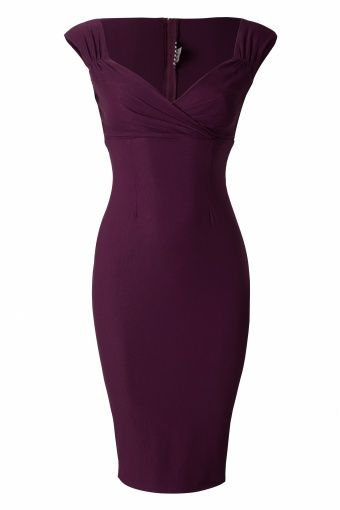 Pinup Couture - 50s Erin wiggle dress Plum- Bridesmaids Dresses...Maybe a different color but this look is good.