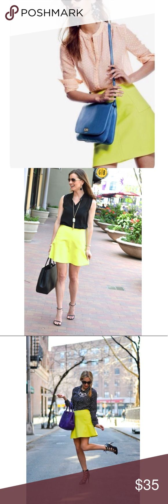 J. Crew Neon Yellow Fluted Flared Skirt Skirt is super cute and in excellent condition. Is definitely a statement piece for any wardrobe. Fully lined and back zip. J. Crew Skirts