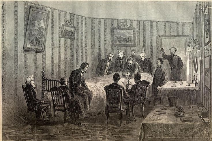 Harper's Weekly illustration of Abraham Lincoln's final hours at the Petersen House