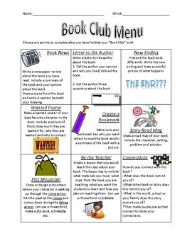 Book Club Choice Menu - fiction books. Maybe have group decide together? Or independent accountability?