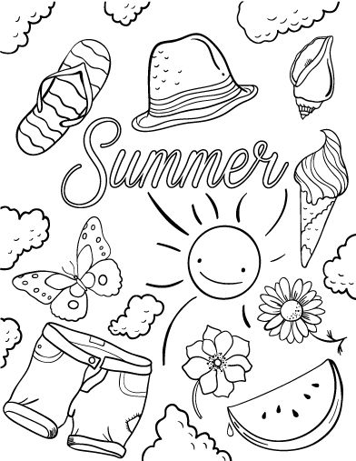 Printable Summer Coloring Page Free PDF Download At