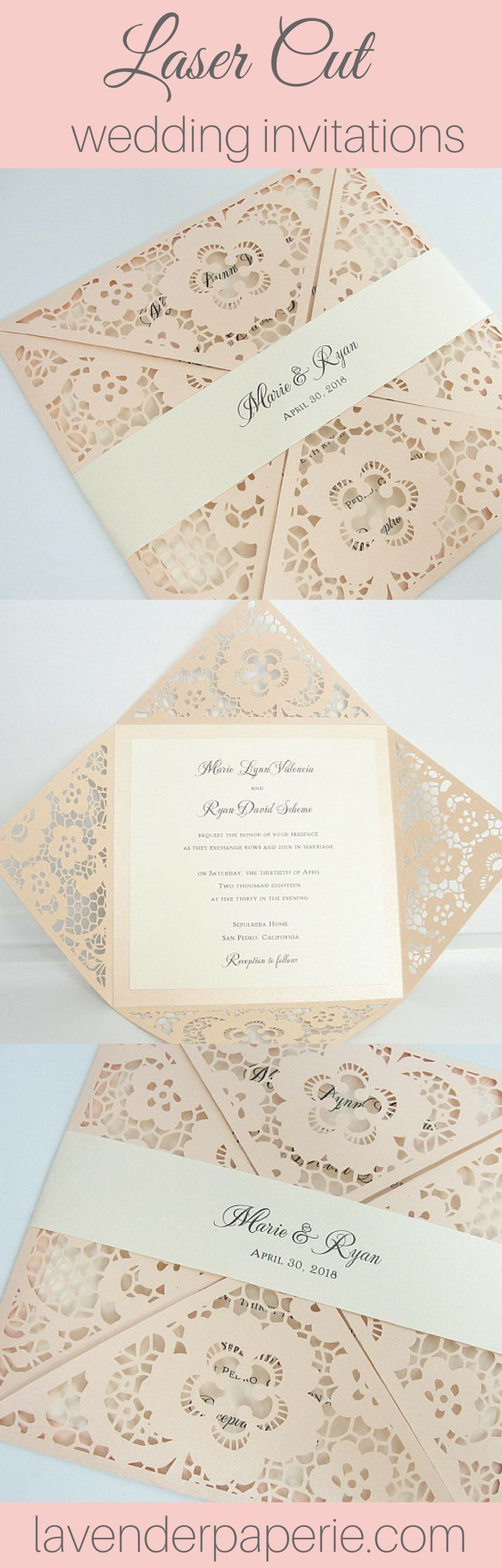 ♥ INVITATION LISTING COLORS ♥This uniquely inspired invitation is printed on ivory shimmer cardstock nestled neatly inside a blush shimmer laser cut outer w