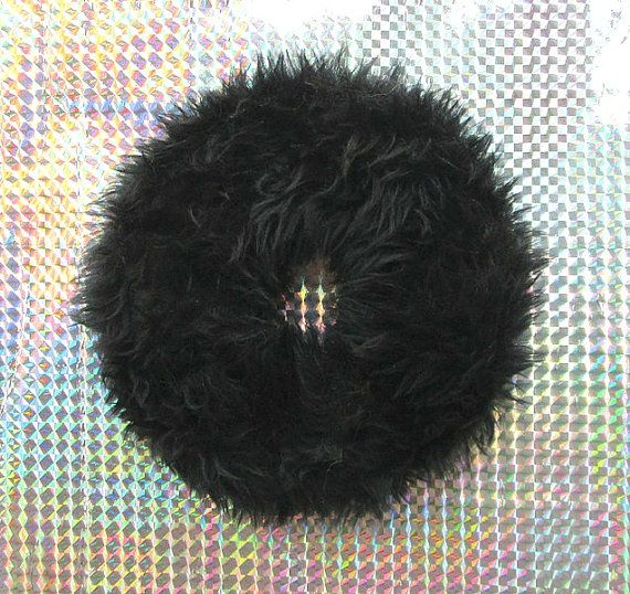 Furry Black Scrunchie  90s Soft Grunge Large by Kerenika on Etsy