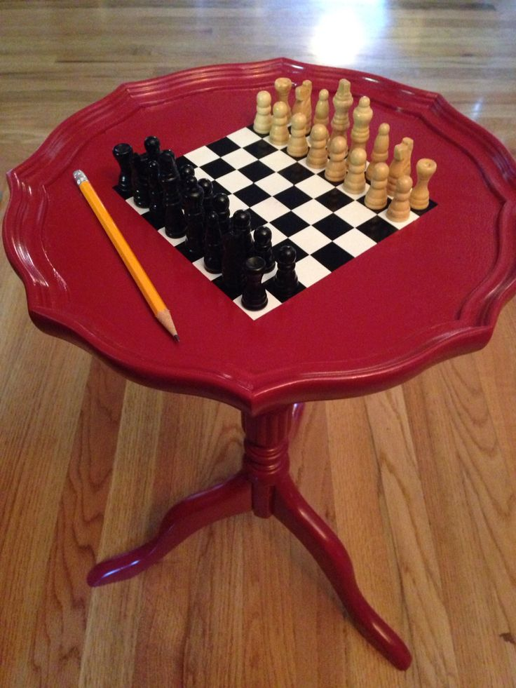 Reclaimed Small End Table Painted To Be Used As Chessboard (pencil Used As  A Sense