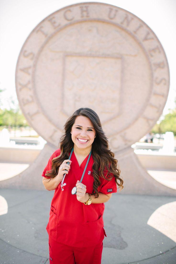 nurse senior picture pose idea unique Texas Tech University red scrubs