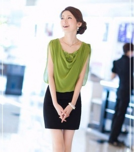 wholesale Elegant Chiffon Splicing Top Open Sleeve Dress Green