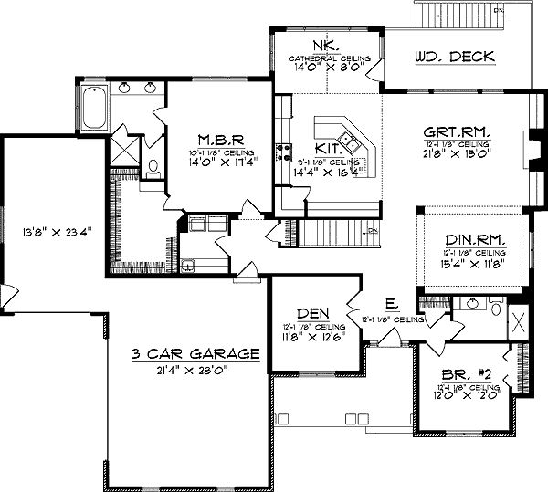 Ranch floor plans with walkout basement main floor for Walkout basement floor plans