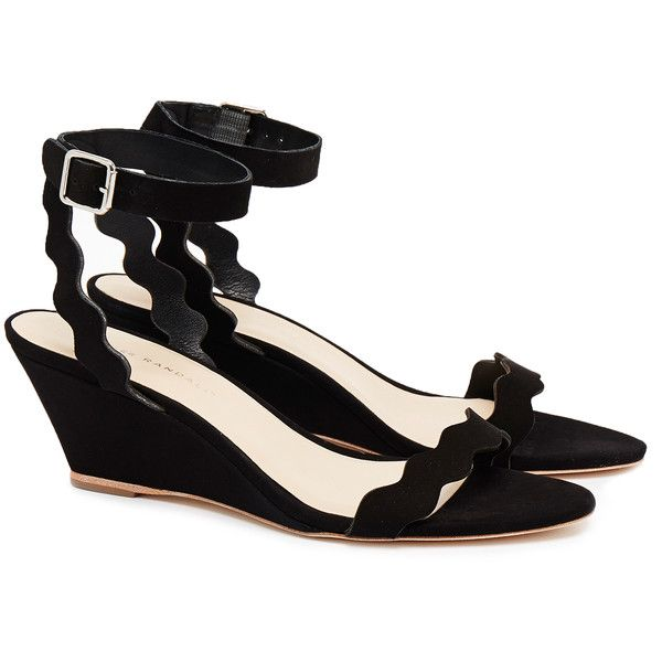 Loeffler Randall Minnie Scallop Edge Black Suede Wedge Sandal ($205) ❤ liked on Polyvore featuring shoes, sandals, black, strappy sandals, black shoes, black strappy shoes, black wedge shoes and black sandals