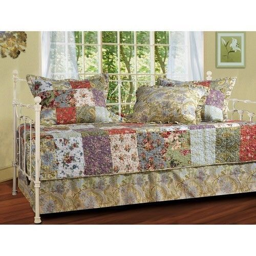 Daybed Bedding Set Guest Room Cover Twin 5 Piece Quilt Sham Bed Skirt Bedroom  #Carmel