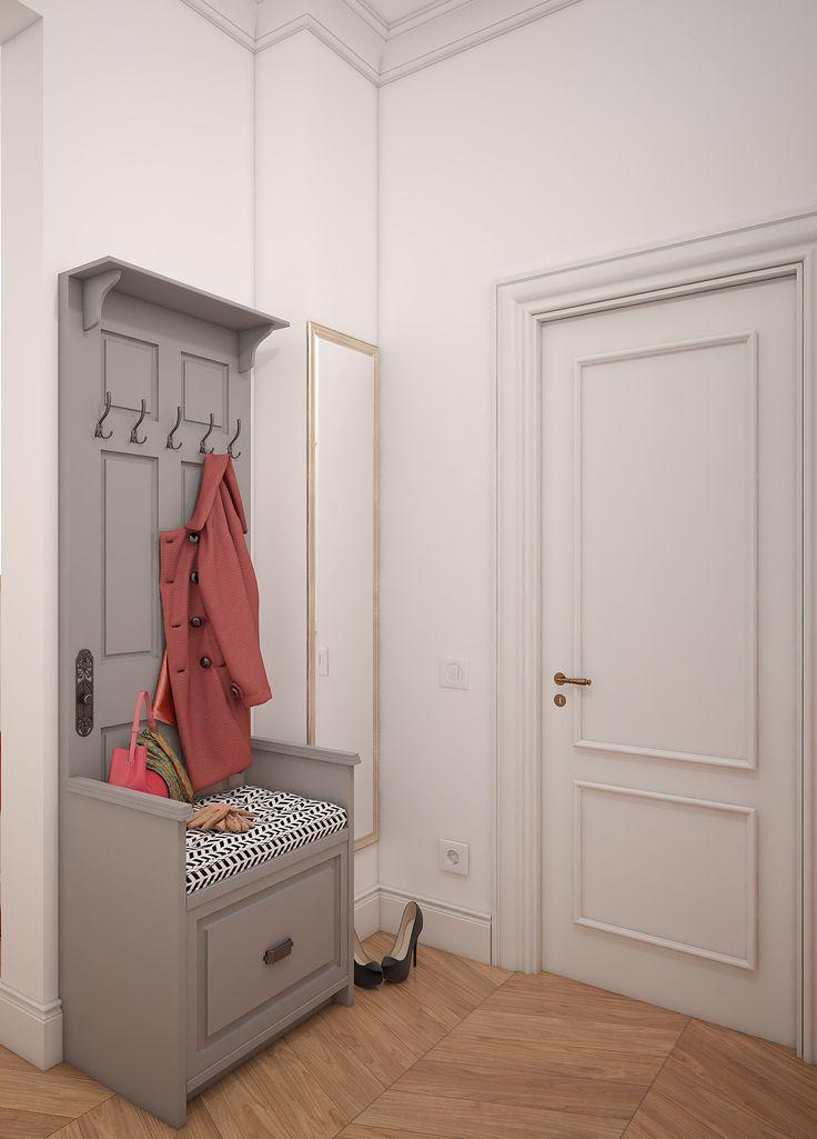Вход в гардеробную и открытый шкаф для верхней одежды в интерьере сталинской квартиры.