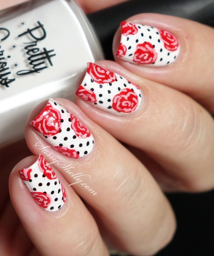 Retro Rockabilly Pin-Up style inspired nail art - Polka Dots & Freehand Roses Naill Art Tutorial | Sassy Shelly