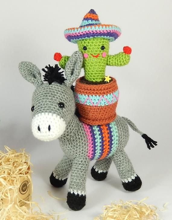 Dante The Donkey And Carlos The Cactus Amigurumi Crochet Etsy