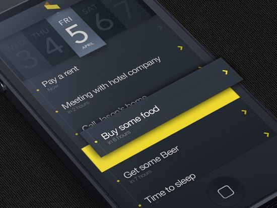 Move your mind / matte black & yellow mobile dev inspiration
