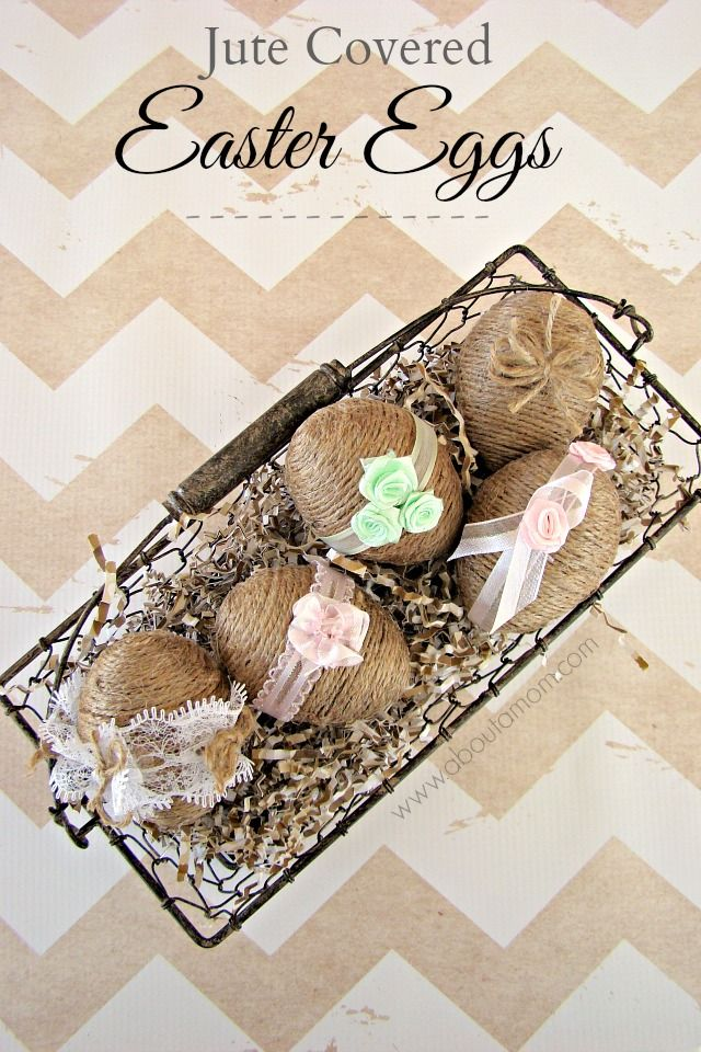 Jute wrapped Easter eggs are a fun craft project for Easter or any time of the year. The jute covered eggs are adorned with scraps of ribbon and lace.