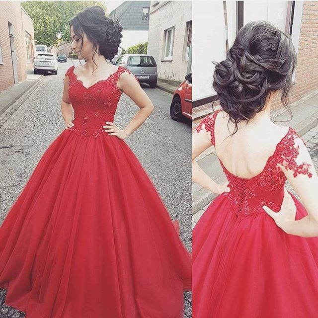 Red Cap Sleeve Princess Ball Gown Prom Dress ,Formal Gown With Lace ...