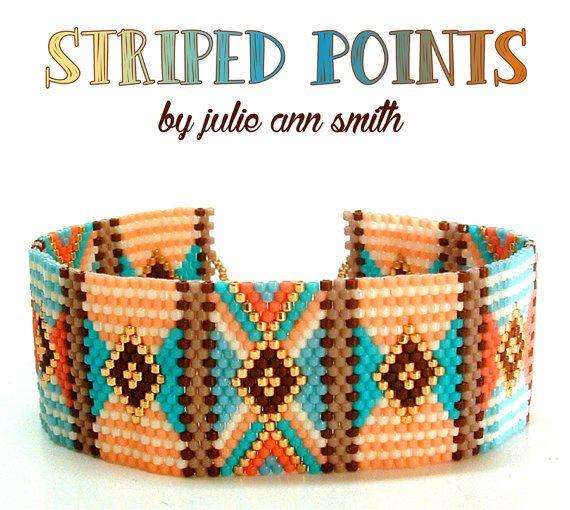 Julie Ann Smith conçoit POINTS rayés motif Bracelet Peyote impair comte                                                                                                                                                      Plus