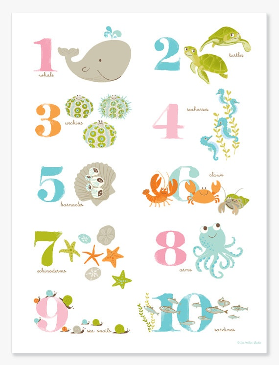Sea Creature Numbers Poster
