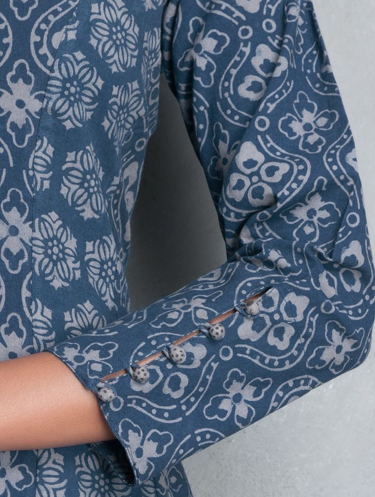 Buy Indigo Natural Dyed Hand Printed Layered Pleated Hemline Cotton Dress Online at Jaypore.com