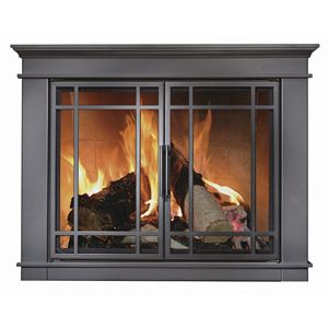 Glass fireplace door black