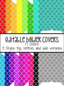 EDITABLE BINDER COVERS: QUATREFOIL SKETCH - TeachersPayTeachers.com