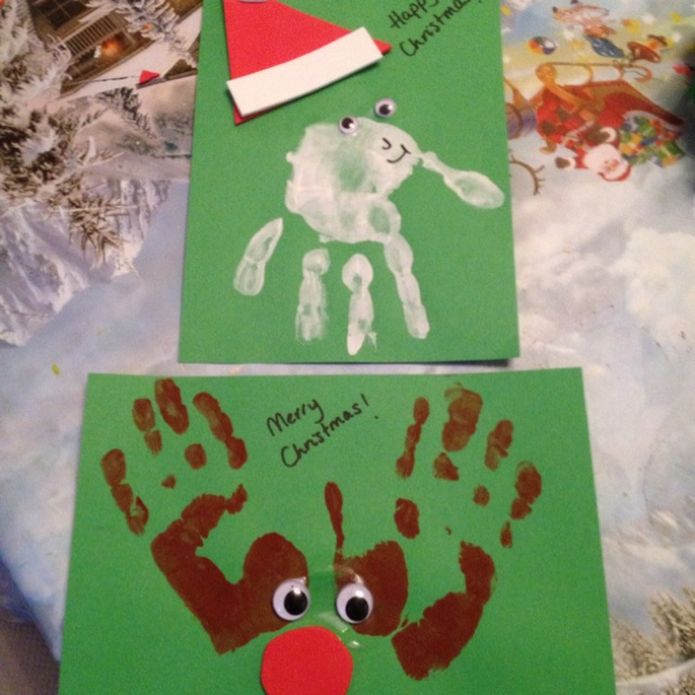 Hand Print Christmas Cards Craft Ideas Pinterest