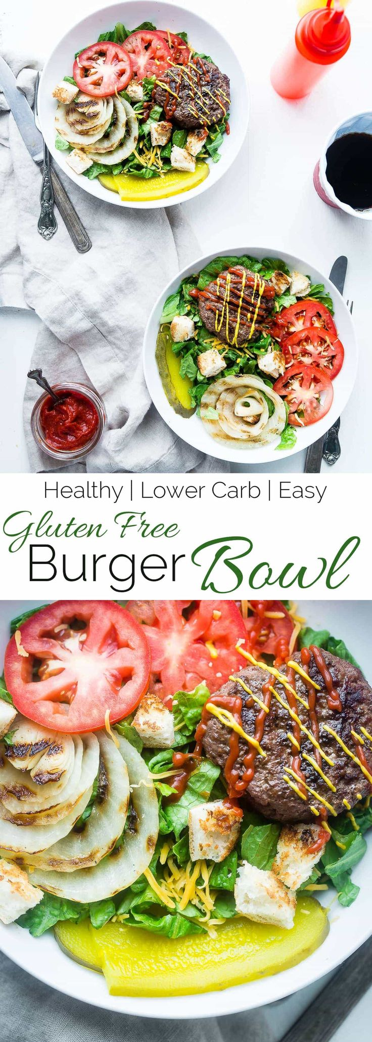 Cheeseburger Salad Bowls - These gluten free cheeseburger salad bowls are a healthy, lighter way to get your burger fix this Summer! They're a healthy meal that the whole family will love! | Foodfaithfitness.com | @FoodFaithFit via @FoodFaithFit