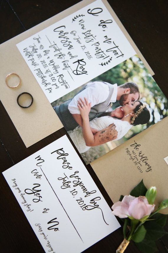 I do me too Now Let's Party Elopement Wedding announcement reception invitation with photo  by ChelsiLeeDesigns